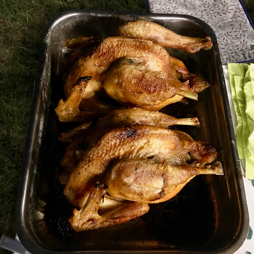 The delicious roasted chickens.