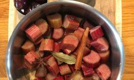 Rhubarb Sauce with Bing Cherries Ingredients.