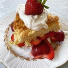 Strawberry Shortcake on an antique white Shelly china plate with gold trim.