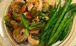 Lovely Citrusy Shrimp Finished On a white gold-trimmed Plate.
