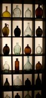 Wall of antique bottles