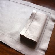 Scrumptious heavy linen placemats and napkins in dusty rose