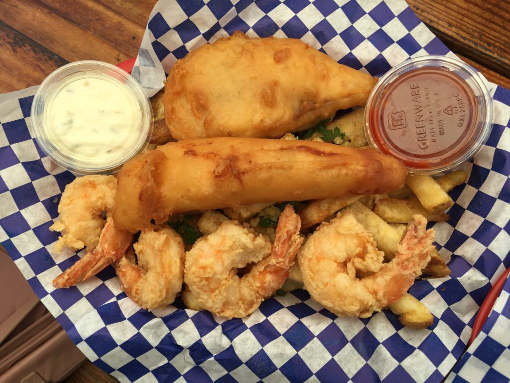 Cod, Shrimp and Fries at Codmother Fish & Chips