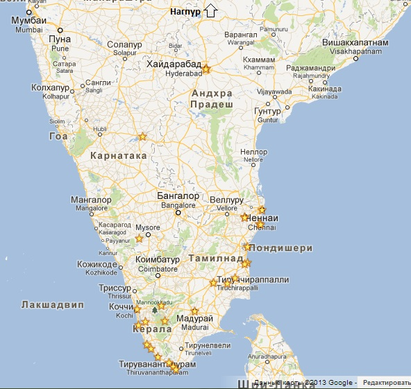 Trip to India.Map