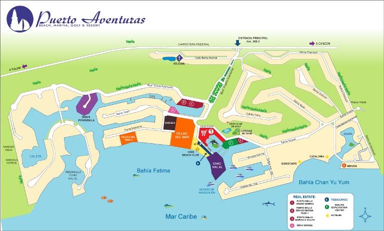 Puerto Aventuras. Map