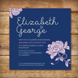 peony-navy wedding-invitation