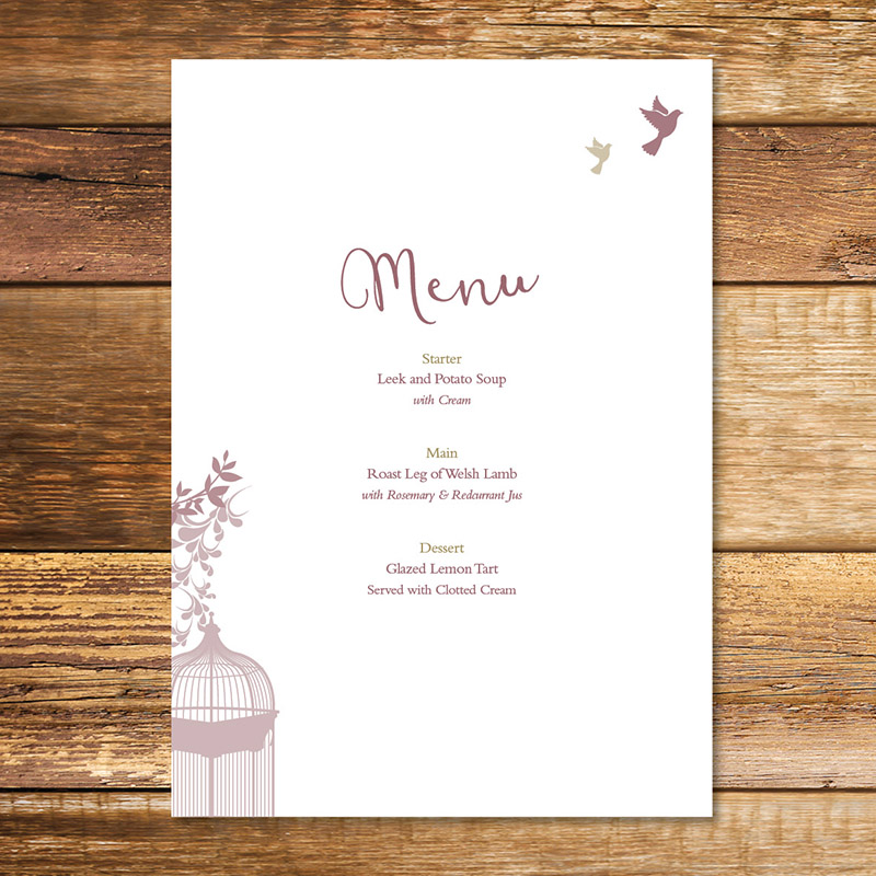 Birdcage Wedding Menu Beautiful Wedding Stationery Uk