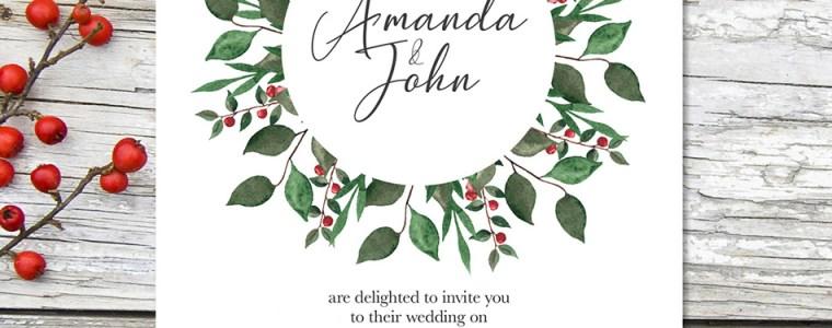 Winter Wreath Wedding Invitation