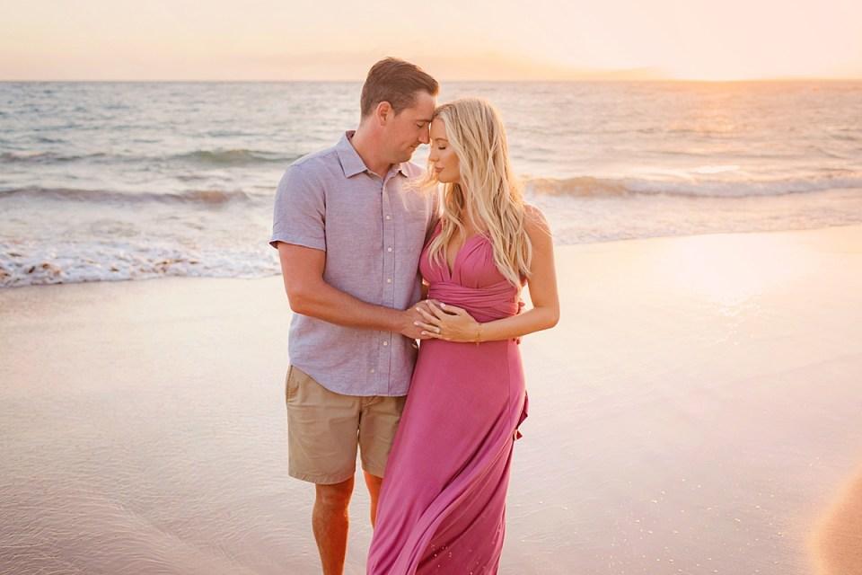 Sunset bikini maternity portraits on Maui photographed by Love + Water