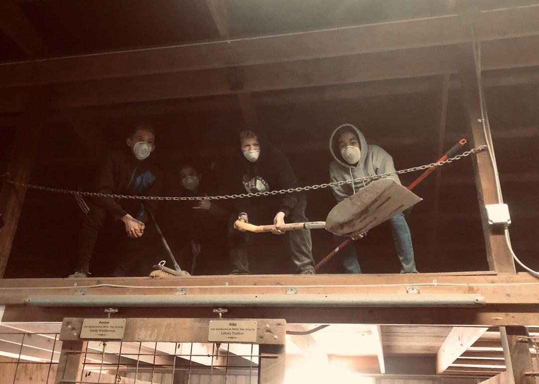 kids top of barn