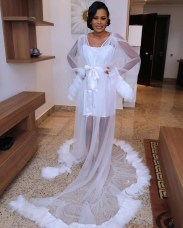 2017 Nigerian Wedding Trends Feather Bridal Robes Tulle LoveWeddingsNG 1