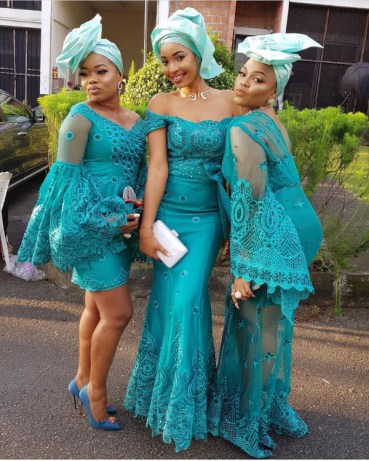 Nigerian Hot Wedding News Teal Aso Ebi LoveWeddingsNG