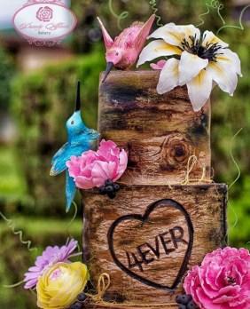 Nigerian Wooden Rustic Wedding Cake Dainty Affairs LoveWeddingsNG 1