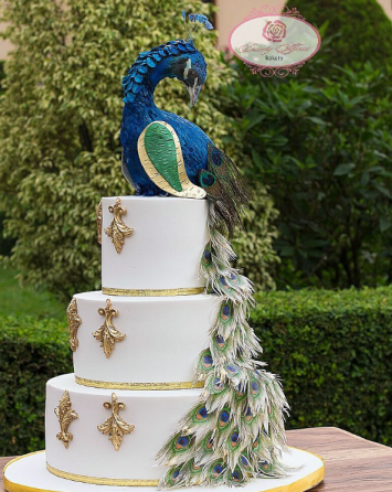 Peacock Nigerian Wedding Cake Dainty Affairs LoveWeddingsNG
