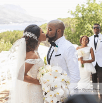 Banky Wellington and Adesua Etomi's White Wedding in Cape Town - kiss LoveWeddingsNG