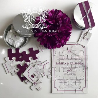 Nigerian Jigsaw Wedding Invite R'ADE Prints Handcrafts LoveWeddingsNG 1