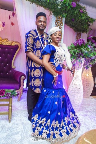 Nigerian Traditional Wedding Couple Portrait First Outfit Uche and Emeka Diko Photography LoveWeddingsNG