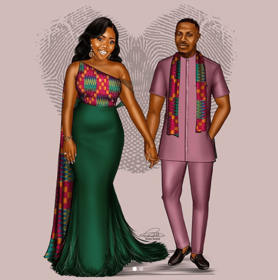 Peniel Enchil and Kojo's Traditional Wedding Illustration LoveWeddingsNG