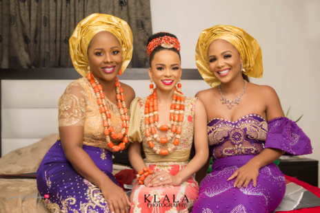 Stephanie Eze and Soji Ogundoyin's Igbo - Yoruba Traditional Wedding Bride and sisters Ink Eze and Uche Pedro LoveWeddingsNG