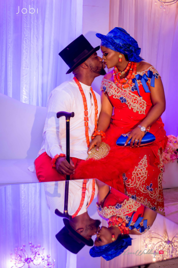Nigerian Traditional Wedding Tobi and Efe #TheObodos Planned by MoAmber Concepts LoveWeddingsNG - Bride and Groom Kiss