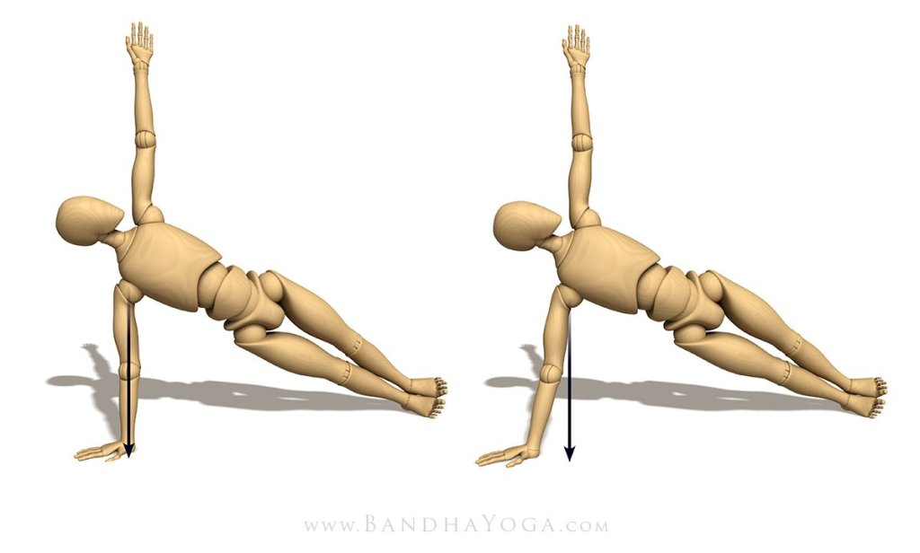 Figure 4: Vasisthasana illustrating the direction of gravity in variations of hand position