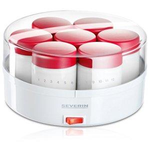 Severin Yoghurt Maker with 14 Glasses, White/ Red