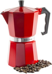Andrew James 6 Cup Red Espresso Coffee Percolator In A Traditional Italian Style Design For Stove Tops