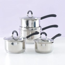 4 piece saucepan set in stainless steel