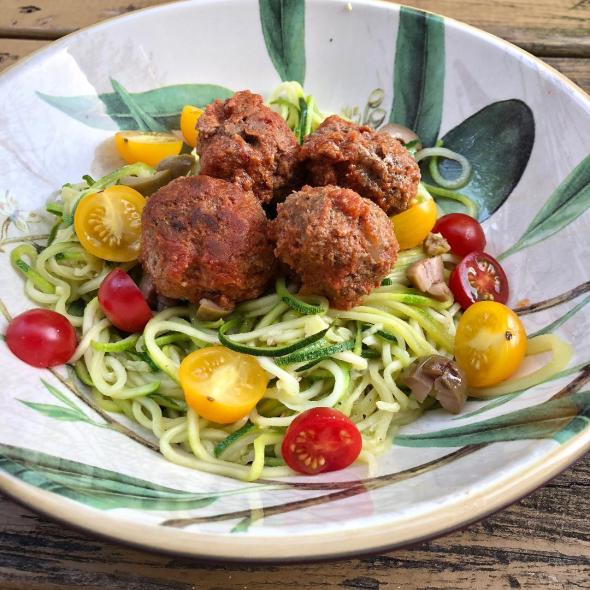 Grain-Free Meatballs over Zoodles