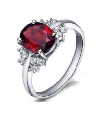 2 Carat Real Garnet Engagement Ring on Silver