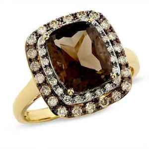 Cushion-Cut Smoky Quartz Ring in 14K Gold with Enhanced Champagne and White Diamonds