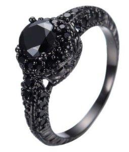 JunXin 10KT Black Gold 8MM Round Cut Diamond Halo Rings Black Onyx Stone