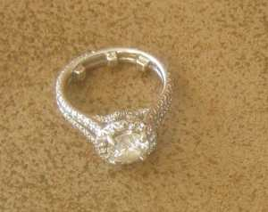 used engagement ring close up