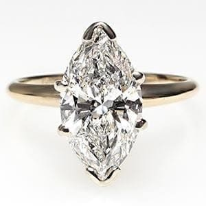 1.5 Carat Marquise Cut Diamond Solitaire Engagement Ring Solid 14k Gold