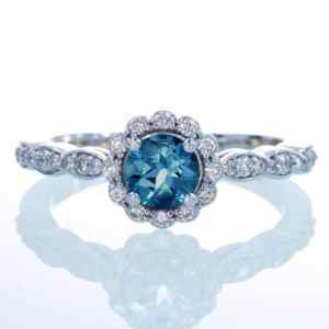 14K White Gold Diamond London Blue Topaz Floral Halo Engagement Wedding Ring