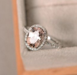 Natural morganite ring, sterling silver, pink gemstone morganite, halo ring, engagement ring