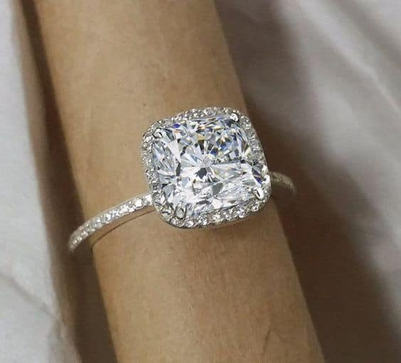 diamond rings shaped c wedding cushion engagement frame v zales in ring shank t two split w double