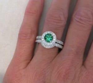 seafoam tourmaline wedding rings with wedding band