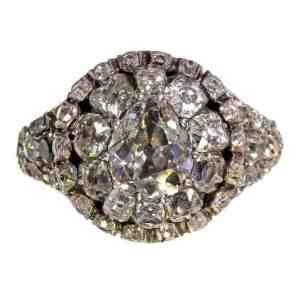 18th century georgian era mine cut diamond ring cluster