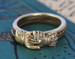 engraved gimmel ring
