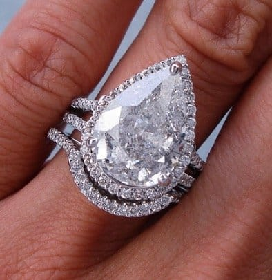 pear shaped diamond wedding ring set Love You Tomorrow