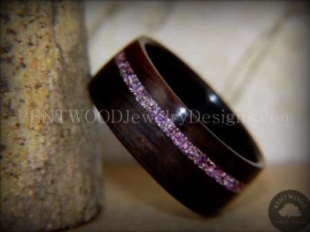 Macassar Ebony Wood Ring with Silver Amethyst Glass Inlay
