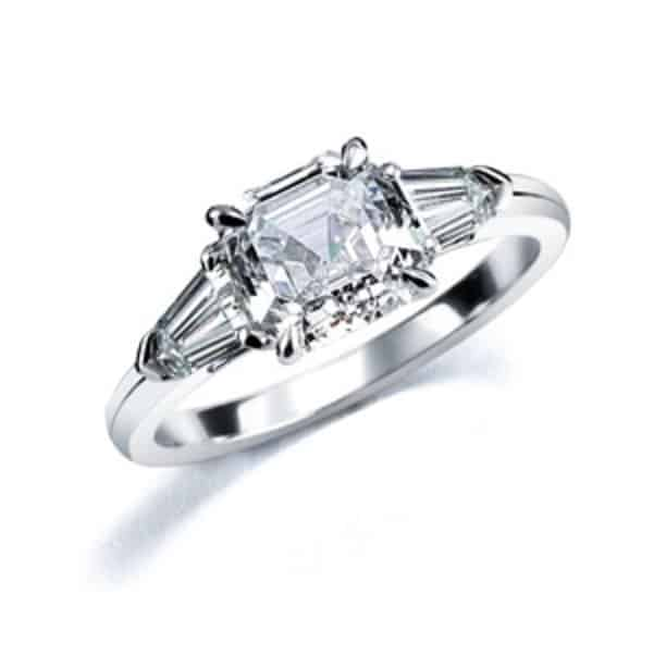 in gold white deal shop stone alert royal tw engagement three ct asscher ring diamond