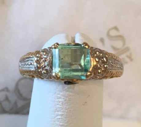 vintage-14k-tt-rectangular-green-beryl-green-sapphire-diamond-filigree-ring