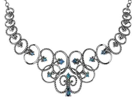 Carolyn Pollack Sterling Silver London Blue Topaz Statement Necklace