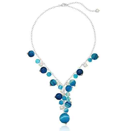 Dyed Blue Agate and Freshwater Cultured Pearls on Sterling Silver Y-Shaped Necklace