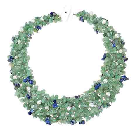 Green-Blue Cascades Quartz-Cultured Freshwater Pearl-Reconstructed Lapis-Lazuli Medley Trio Bib Necklace