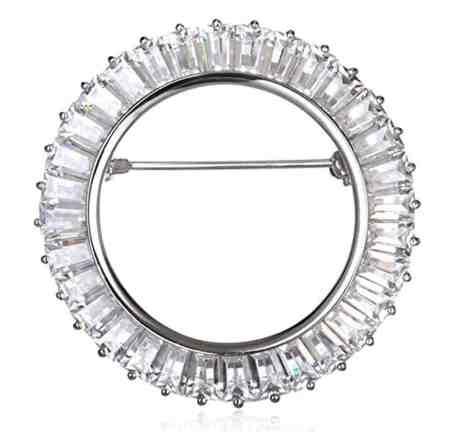 Rhodium Plate Silver White Cz Baguette Circle Pin