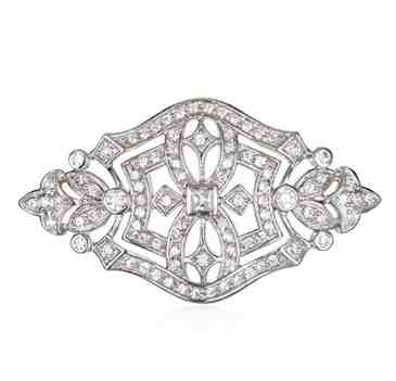 Rhodium Plated Silver White Cz Antique Pin