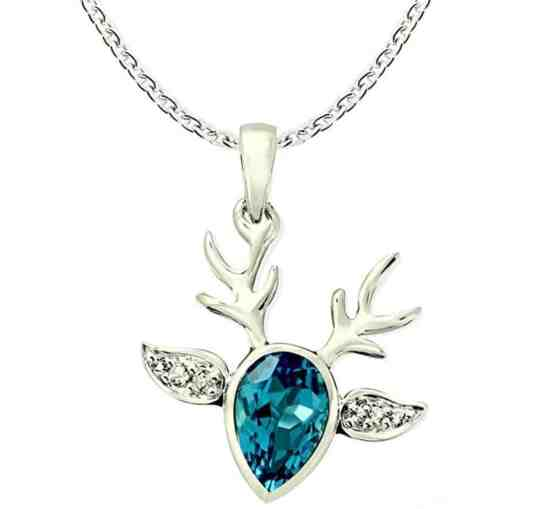 Swiss Blue Topaz Rhodium-plated Sterling Silver Statement Pendant Necklace Reindeer Design